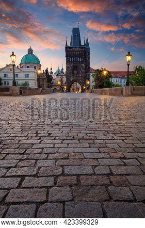 Prague, Charles Bridge. Cityscape Image Of Iconic Charles Bridge With Old Town Bridge Tower In Pragu