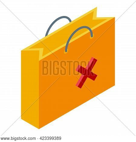 Shop Bag Payment Cancellation Icon. Isometric Of Shop Bag Payment Cancellation Vector Icon For Web D