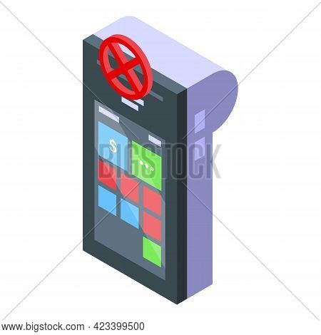 Pos Cancel Payment Icon. Isometric Of Pos Cancel Payment Vector Icon For Web Design Isolated On Whit
