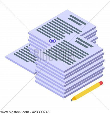 Documents Rush Job Icon. Isometric Of Documents Rush Job Vector Icon For Web Design Isolated On Whit