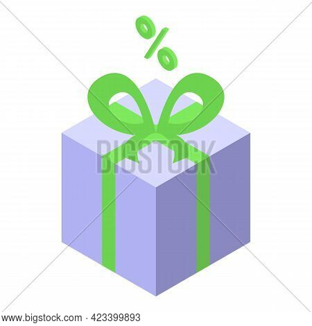 Gift Box Result Money Icon. Isometric Of Gift Box Result Money Vector Icon For Web Design Isolated O