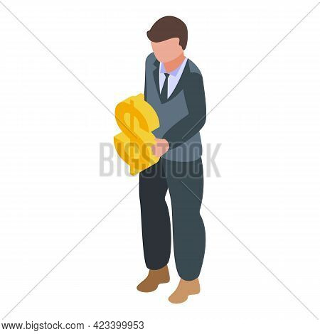 Bank Worker Result Money Icon. Isometric Of Bank Worker Result Money Vector Icon For Web Design Isol