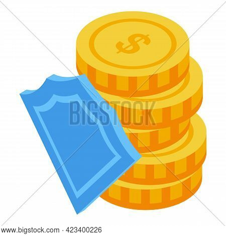 Coins Security Consumer Rights Icon. Isometric Of Coins Security Consumer Rights Vector Icon For Web