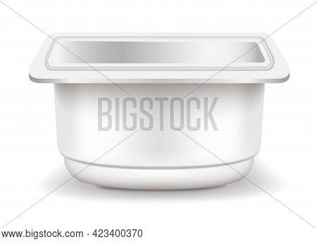 Yogurt Packaging Side View Vector Eps Realistic 3