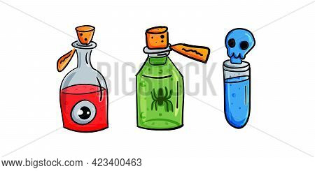Magic Potions Or Alchemy. Colorful Magic Jars And Bottles Of Liquid Potions. Isolated On White Backg