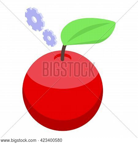 Education Workflow Red Apple Icon. Isometric Of Education Workflow Red Apple Vector Icon For Web Des