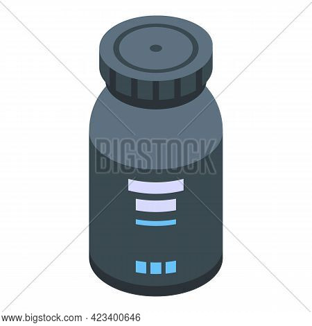 Protein Pill Jar Icon. Isometric Of Protein Pill Jar Vector Icon For Web Design Isolated On White Ba