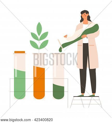 Young Female Scientist Is Working In Research Team. Cheerful Woman In Robe Dripping Green Substance
