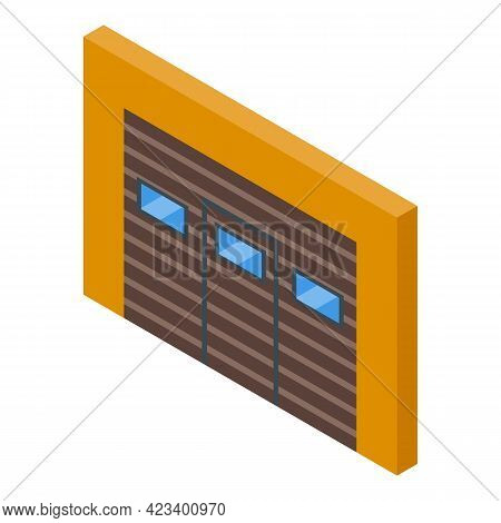 Automatic Gate Door Icon. Isometric Of Automatic Gate Door Vector Icon For Web Design Isolated On Wh