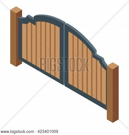 Automatic Wood Gate Icon. Isometric Of Automatic Wood Gate Vector Icon For Web Design Isolated On Wh