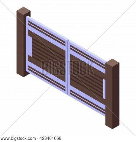Automatic Gate Entry Icon. Isometric Of Automatic Gate Entry Vector Icon For Web Design Isolated On