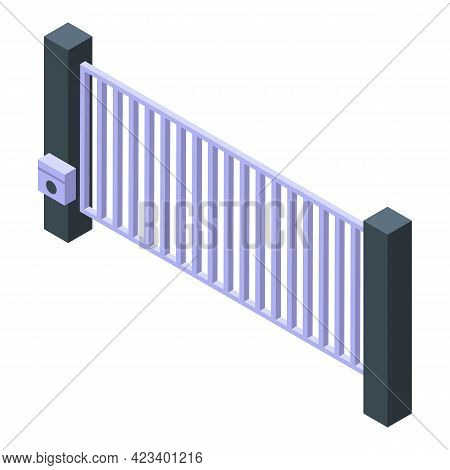 Automatic Gate Road Icon. Isometric Of Automatic Gate Road Vector Icon For Web Design Isolated On Wh