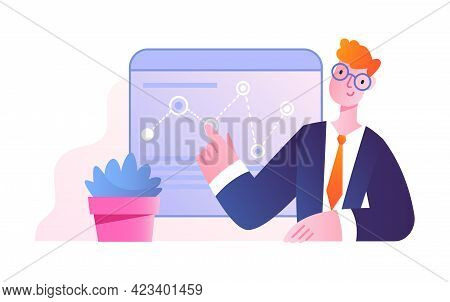 Office Scene With Young Male Character Studying Infographics. Concept Of Men And Women Taking Part I