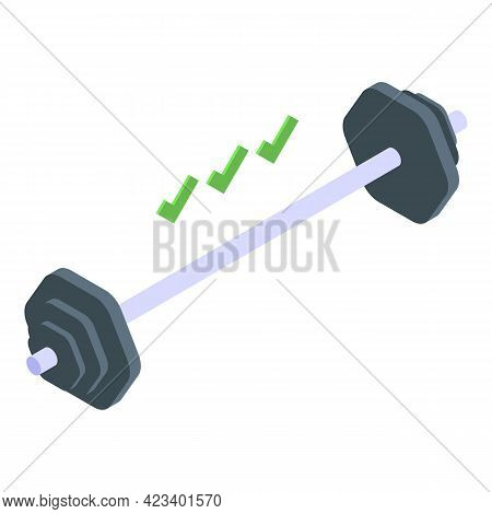 Fitness Blog Barbell Icon. Isometric Of Fitness Blog Barbell Vector Icon For Web Design Isolated On