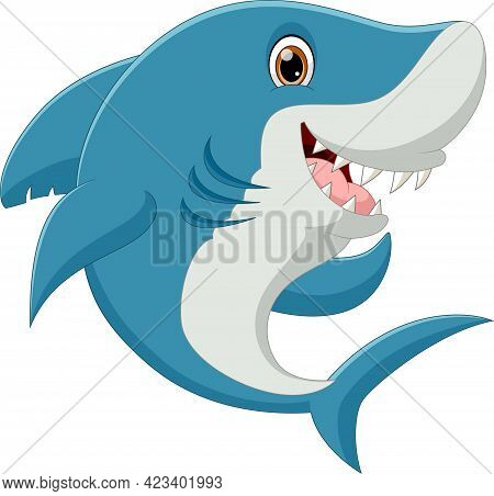 Cute Shark Cartoon Posing And Smiling On White Background