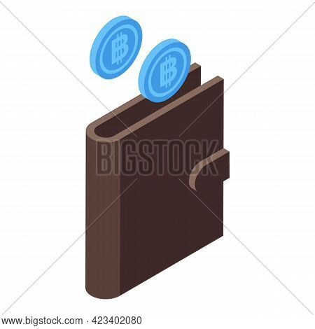 Bitcoin Wallet Icon. Isometric Of Bitcoin Wallet Vector Icon For Web Design Isolated On White Backgr