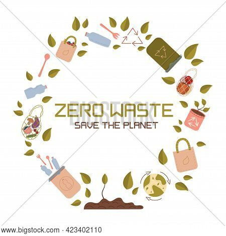Zero West Emblem In Circle, The Inscription Save The Planet. Vector Logo Design Template And Zero Wa