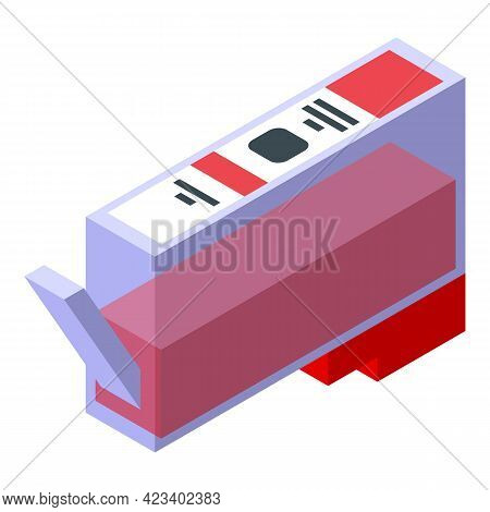 Printing Cartridge Icon. Isometric Of Printing Cartridge Vector Icon For Web Design Isolated On Whit
