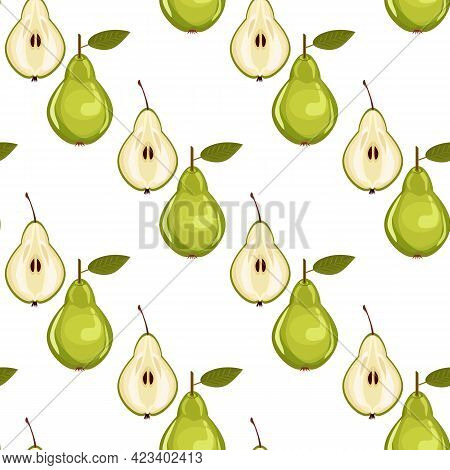 Cute Seamless Pear Pattern On Paper Background. Fruity Patterns Collection