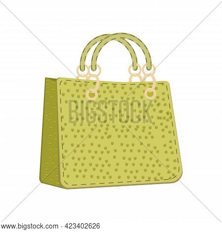 Fashion Bag Of Colorful Empty Isolated In White. Vector Illustration Handbag Shopper