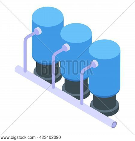 Water Purification Factory Tank Icon. Isometric Of Water Purification Factory Tank Vector Icon For W