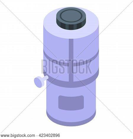 Water Purification Plastic Tank Icon. Isometric Of Water Purification Plastic Tank Vector Icon For W