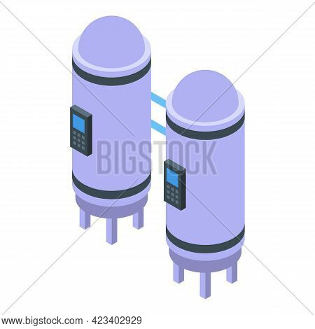 Water Purification Industry Tanks Icon. Isometric Of Water Purification Industry Tanks Vector Icon F