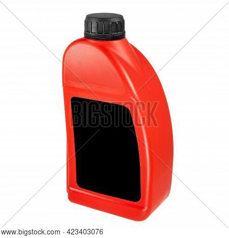 Plastic Canister Isolated On White Background. Close-up Red Canister With A Black Label And A Black