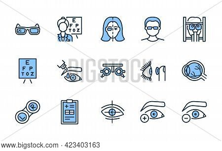 Ophthalmology Flat Line Icon Set Blue Color. Vector Illustration Vision Treatment. Examination In An