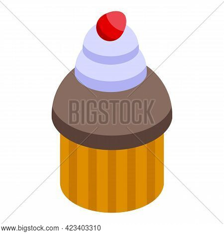 Cherry Muffin Icon. Isometric Of Cherry Muffin Vector Icon For Web Design Isolated On White Backgrou