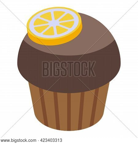 Lemon Muffin Icon. Isometric Of Lemon Muffin Vector Icon For Web Design Isolated On White Background