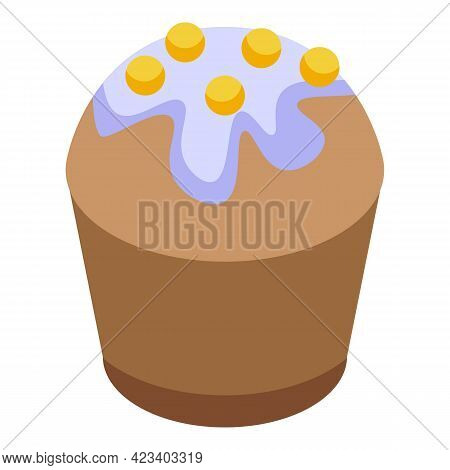 Celebration Muffin Icon. Isometric Of Celebration Muffin Vector Icon For Web Design Isolated On Whit