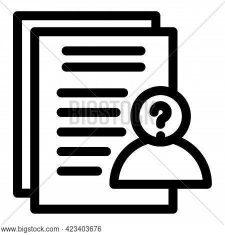 Anonymous Doc Icon. Outline Anonymous Doc Vector Icon For Web Design Isolated On White Background