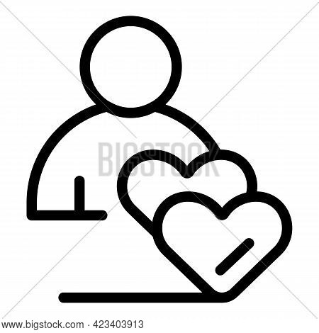 Love Relationship Icon. Outline Love Relationship Vector Icon For Web Design Isolated On White Backg
