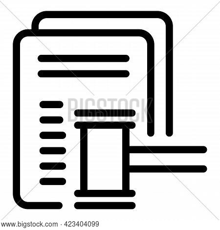 Gavel Contract Relationship Icon. Outline Gavel Contract Relationship Vector Icon For Web Design Iso
