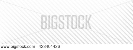 Diagonal Line Long Background. White Stripe Texture. Gray Straight Design Element. Abstract Neutral