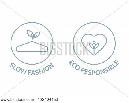 Slow Fashion And Eco Responsible Line Icons. Sustainable Clothes Logo. Eco Product Badge. Organic Co