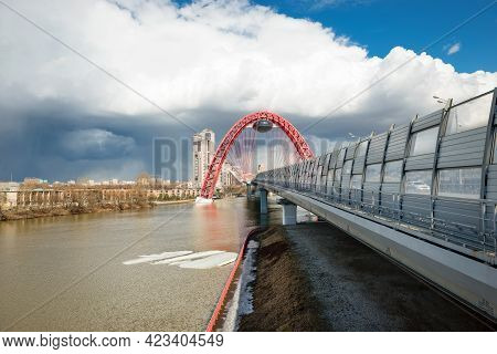 Moscow - April 3, 2021: Beautiful Cable-stayed Zhivopisny Bridge In Moscow, Russia. It Is The Highes
