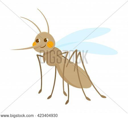 Cute Grey Smiling Mosquito Isolated On White Background. Concept Of Stickers Of Cute And Funny Insec
