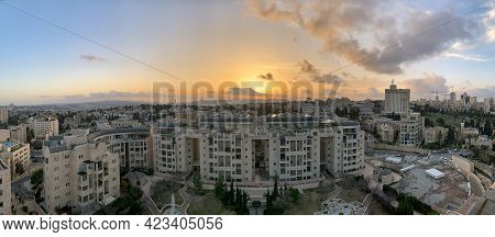 Jerusalem, Israel - March 08, 2021: View Of Jerusalem From The Ymca Tower At Sunset