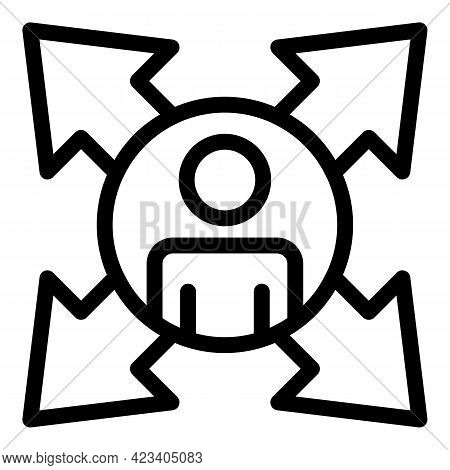 Colleague Direction Icon. Outline Colleague Direction Vector Icon For Web Design Isolated On White B