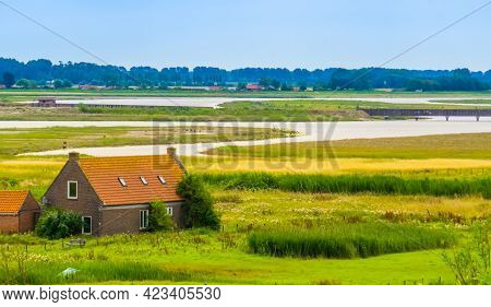 Typical Dutch House At The Lake Of Breskens, Beautiful Nature Scenery, Zeeland, The Netherlands