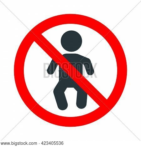 Babies Not Allowed, Red Forbidden Sign With Little Child Icon On White Background