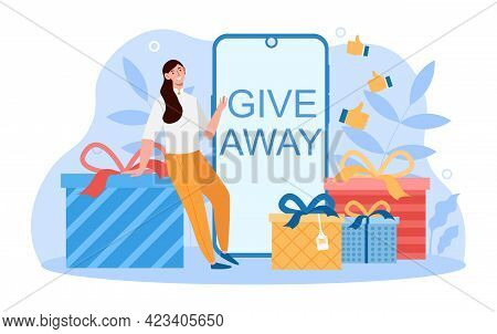 Young Smiling Female Character Is On A Presents Give Away Haul. Happy Woman Is Standing Next To Gift