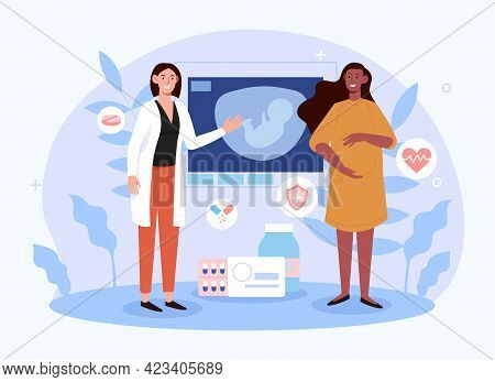 Smiling Female Doctor Is Checking Pregnant Woman In Modern Hospital. Concept Of Medical Insurance Fo