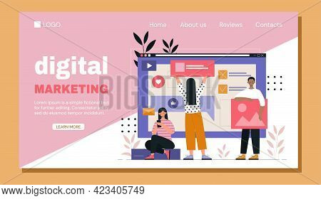 Young Male And Female Characters Are Working In Digital Marketing Together In Company. Concept Of So