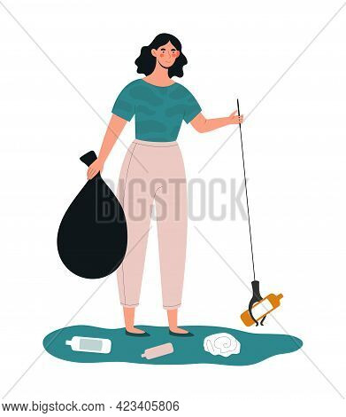 Young Female Character Is Collecting Trash Outdoors. Concept Of People Collecting Trash On The Stree