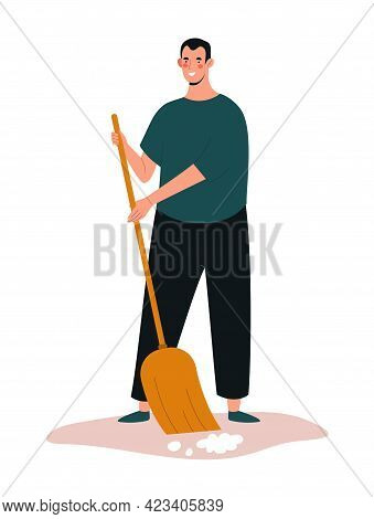 Young Smiling Male Character Is Collecting And Sweeping Trash . Concept Of People Collecting Trash O