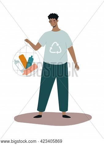 Young Male Character Is Collecting Plastic Trash In A Bag. Concept Of People Collecting Trash On The