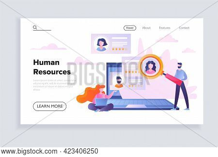 Male Character Is Recruiting People As Human Resources Manager. Concept Of Recruitment And Job Manag
